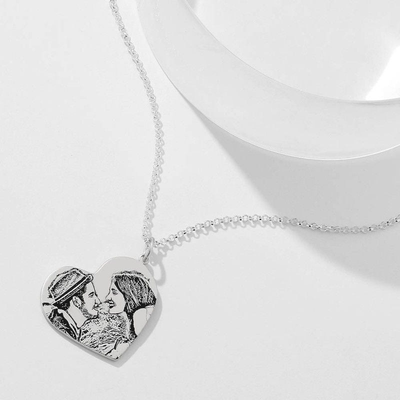 Women's Vertical Heart Photo Engraved Tag Necklace Silver