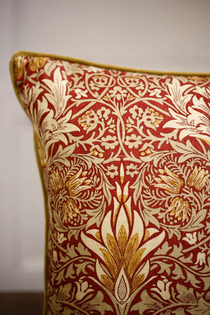 "TallBoy Interiors 19"" cushion- WM Red and Gold - TallBoy Interiors"