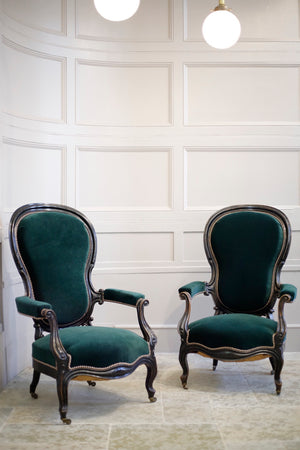 Pair of Napoleon III Balloon backed armchairs - TallBoy Interiors