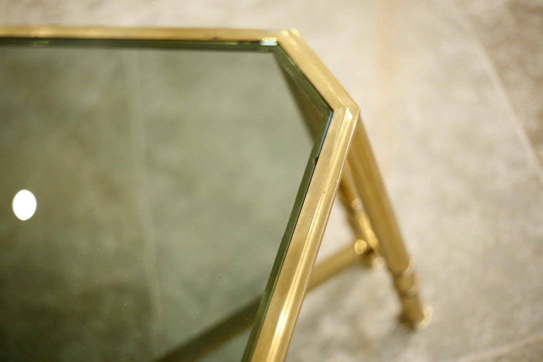 Mid century Brass and smoked glass coffee table - TallBoy Interiors