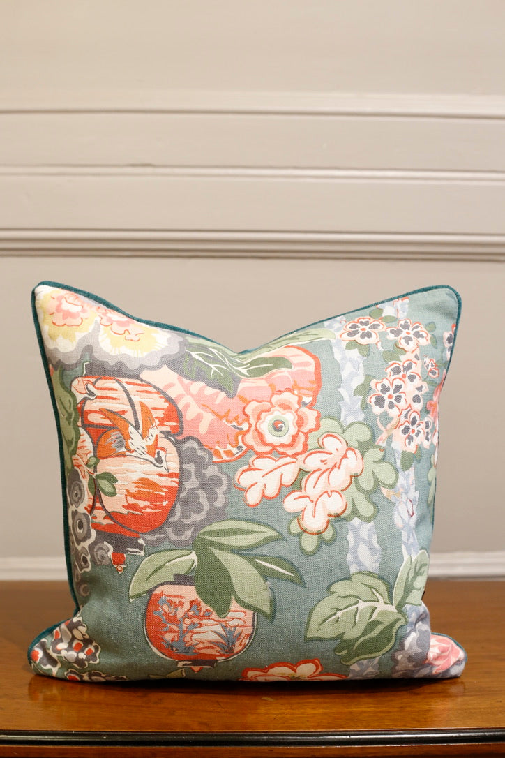 TallBoy Interiors 18inch Cushions- Linwood floral with velvet - TallBoy Interiors