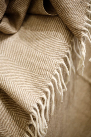 Recycled Wool Blanket in Natural Herringbone - TallBoy Interiors