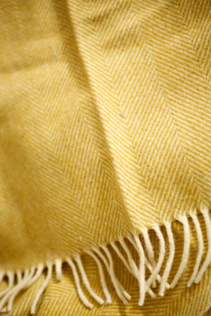 Recycled Wool Blanket in Mustard Herringbone - TallBoy Interiors