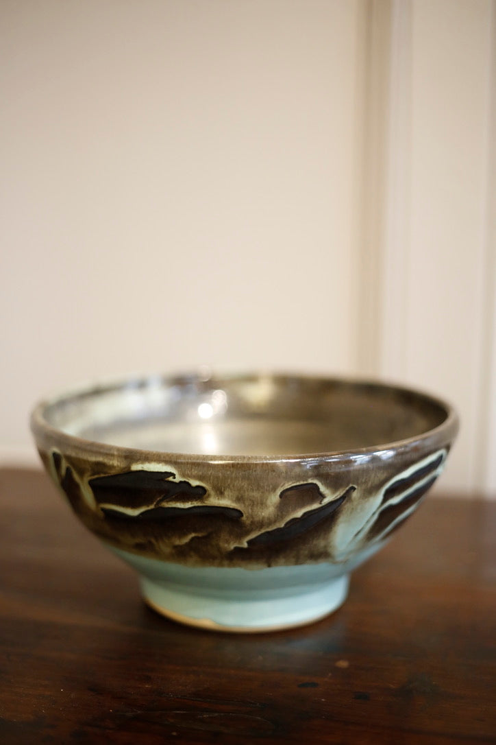 20th Century Blue glazed studio pottery bowl - TallBoy Interiors
