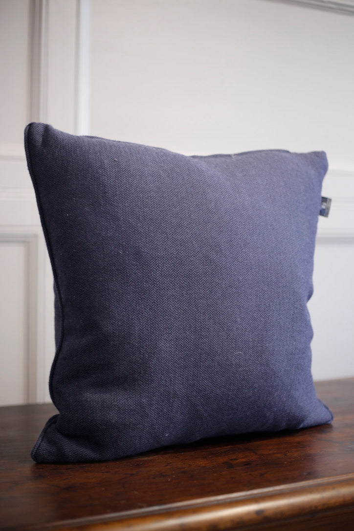 24 inch Dark blue herringbone feather cushion - TallBoy Interiors