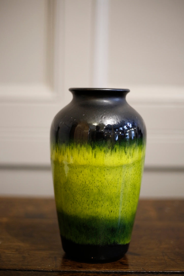 20th Century German Yellow and black glazed studio vase - TallBoy Interiors