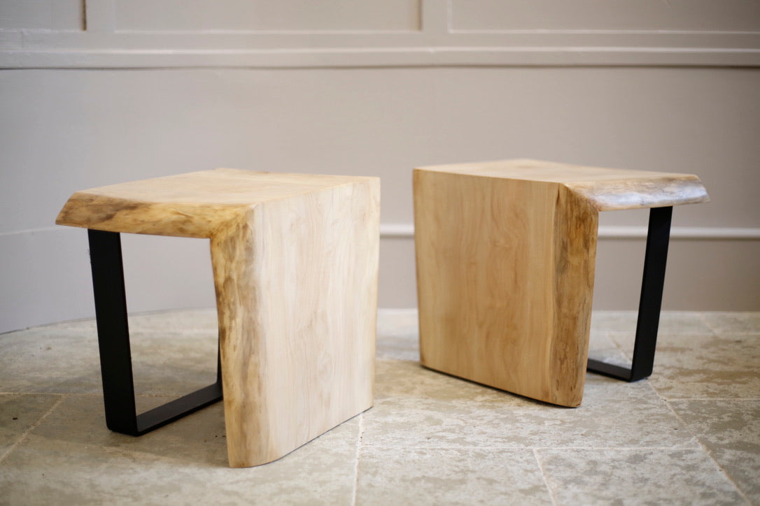RESERVED Pair of Sycamore live edge side tables by TallBoy - TallBoy Interiors