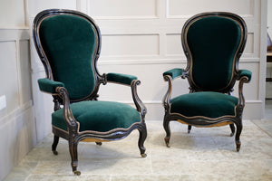 RESERVED Pair of Napoleon III Balloon backed armchairs