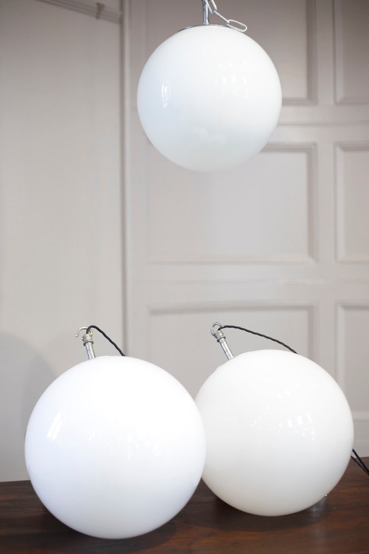 3x Mid century Large Opaline Globe lights- FALKS - TallBoy Interiors