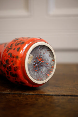 20th Century German Red glazed fat lava vase - TallBoy Interiors
