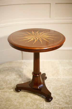 Early Victorian Mahogany marquetry star side table - TallBoy Interiors