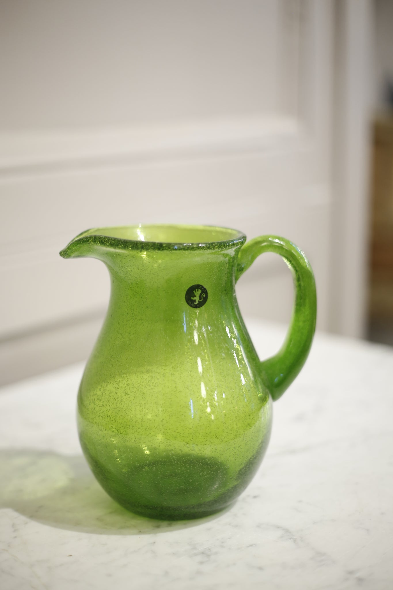 Hand blown Glass jug- Green - TallBoy Interiors