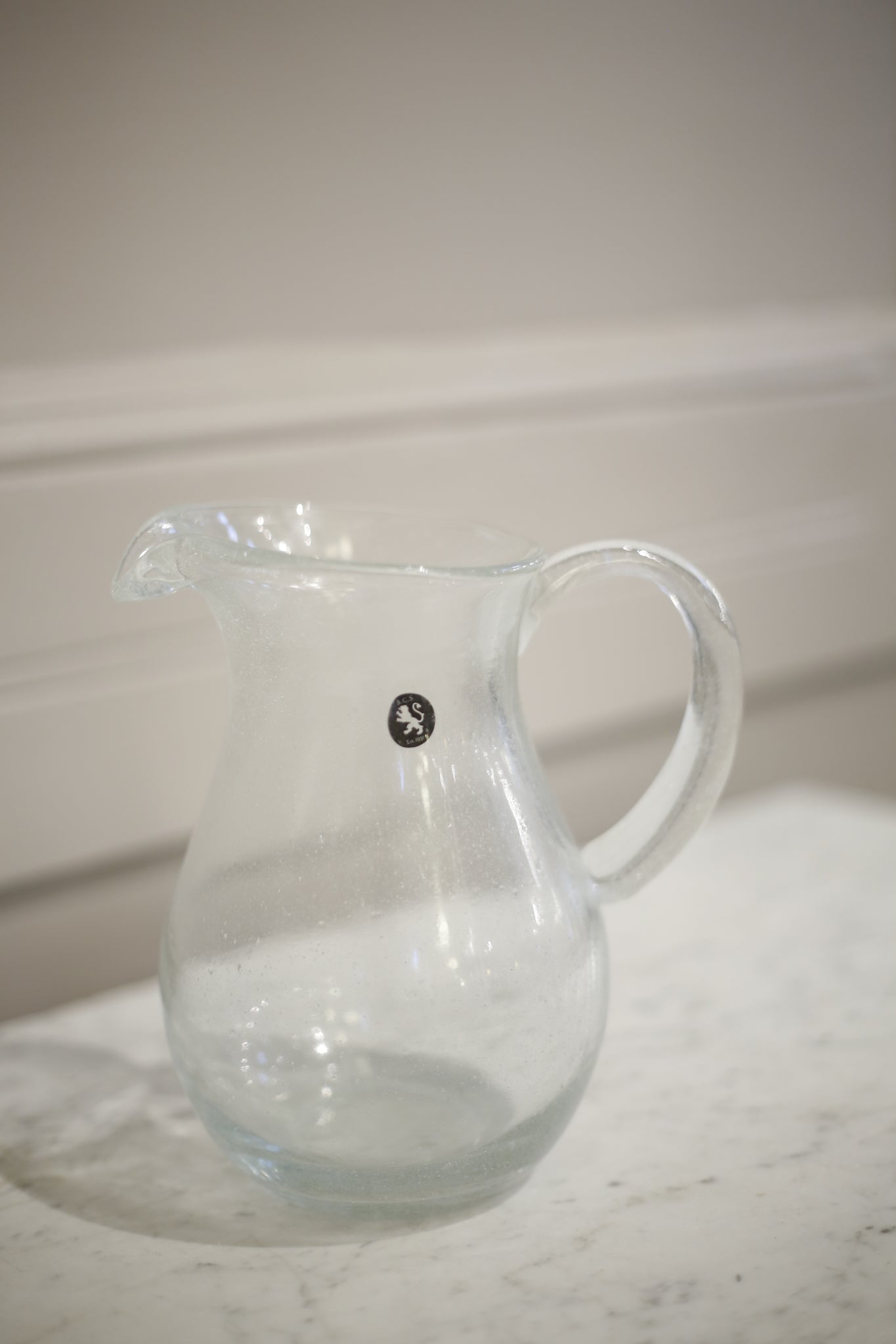 Hand blown glass jug- Clear - TallBoy Interiors