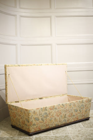 Large Victorian Upholstered storage ottoman - TallBoy Interiors