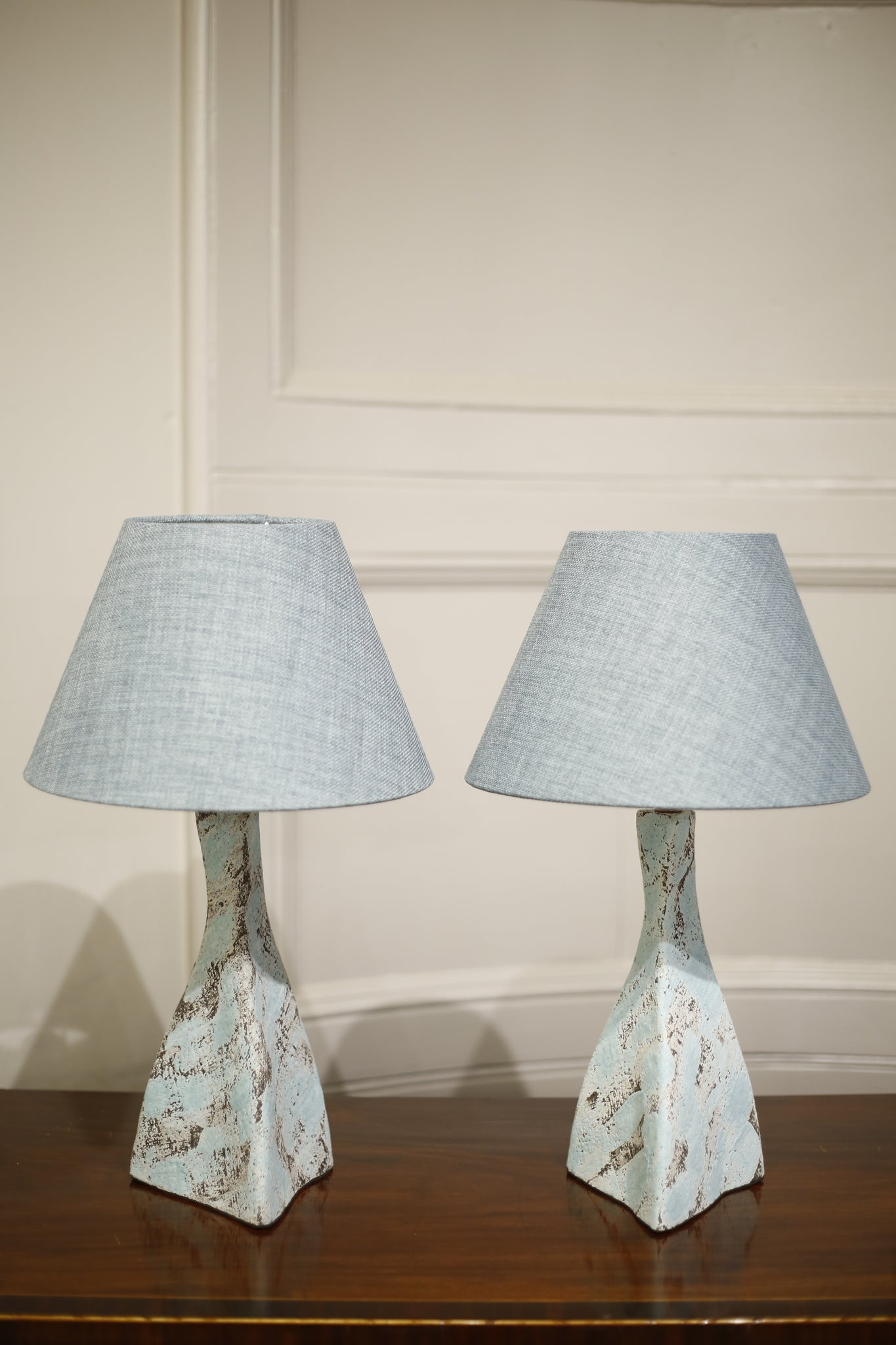 Pair of Studio pottery lamps- Blue Twist - TallBoy Interiors