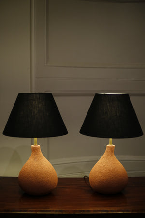 Pair of Studio pottery lamps- Coral Fig - TallBoy Interiors