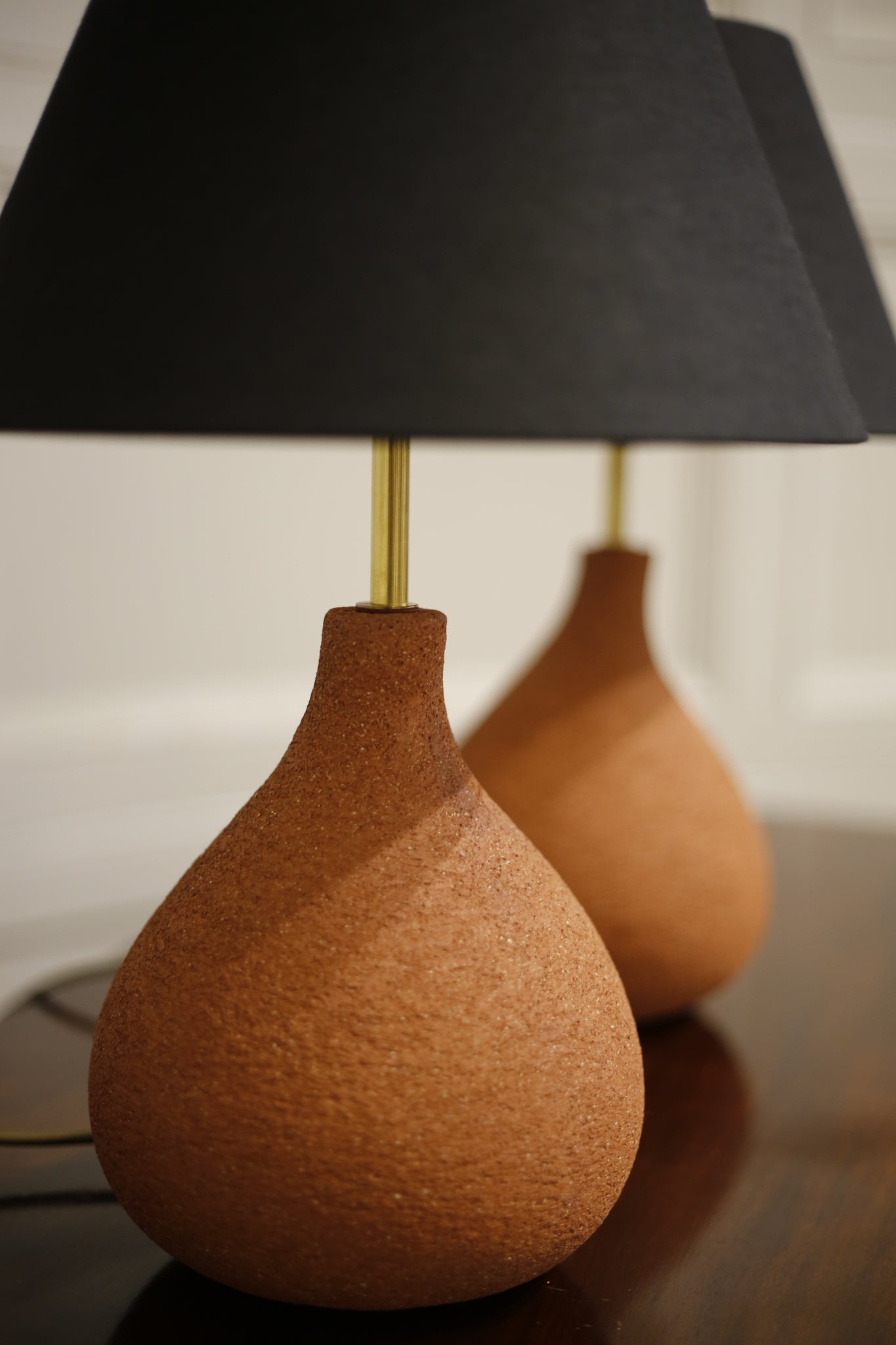 Pair of Studio pottery lamps- Coral Fig