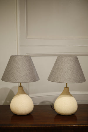 Pair of Studio pottery lamps- Sand Fig - TallBoy Interiors