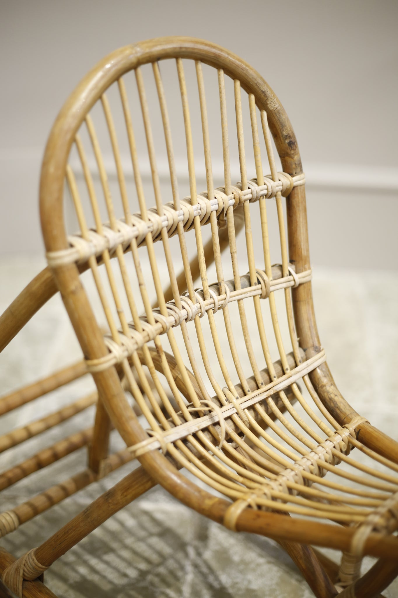20th century wicker and rattan children's rocking horse - TallBoy Interiors