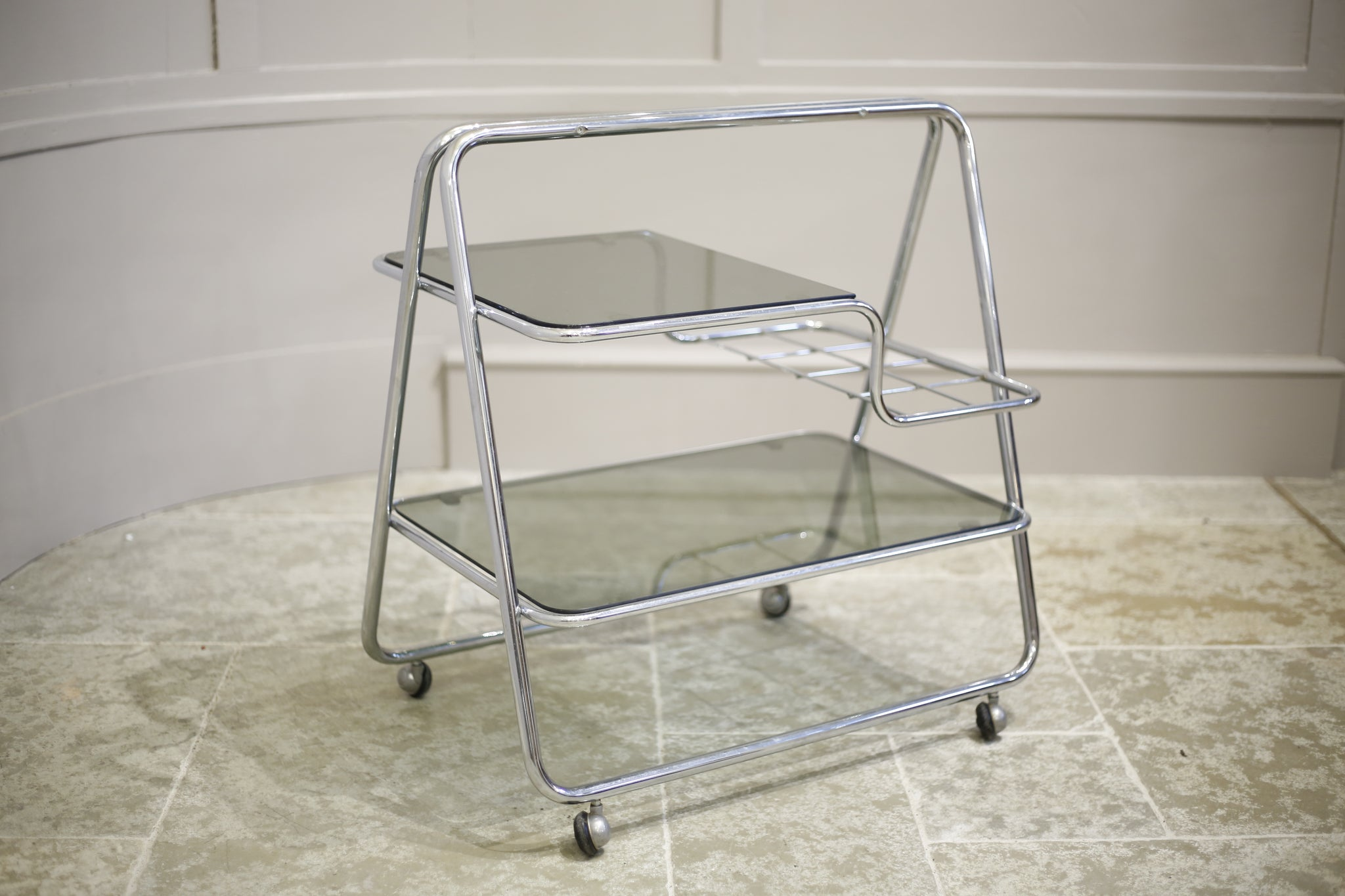 1970's Chrome and smoked glass drinks trolley