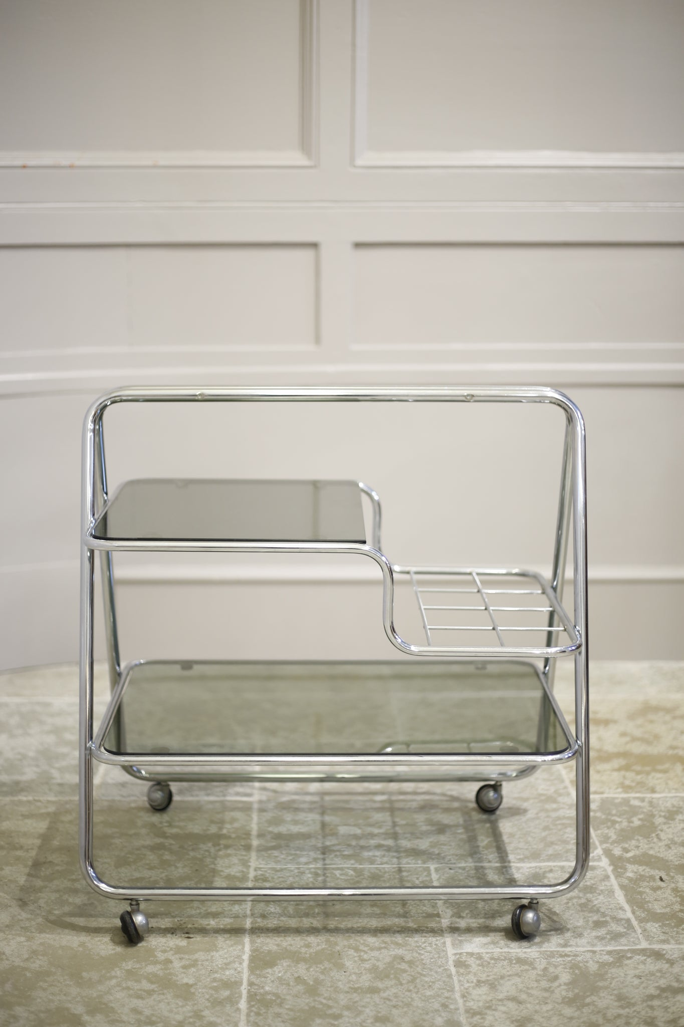 1970's Chrome and smoked glass drinks trolley - TallBoy Interiors