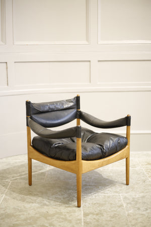 Single Oak and black leather Danish armchair by Kristian Vedel
