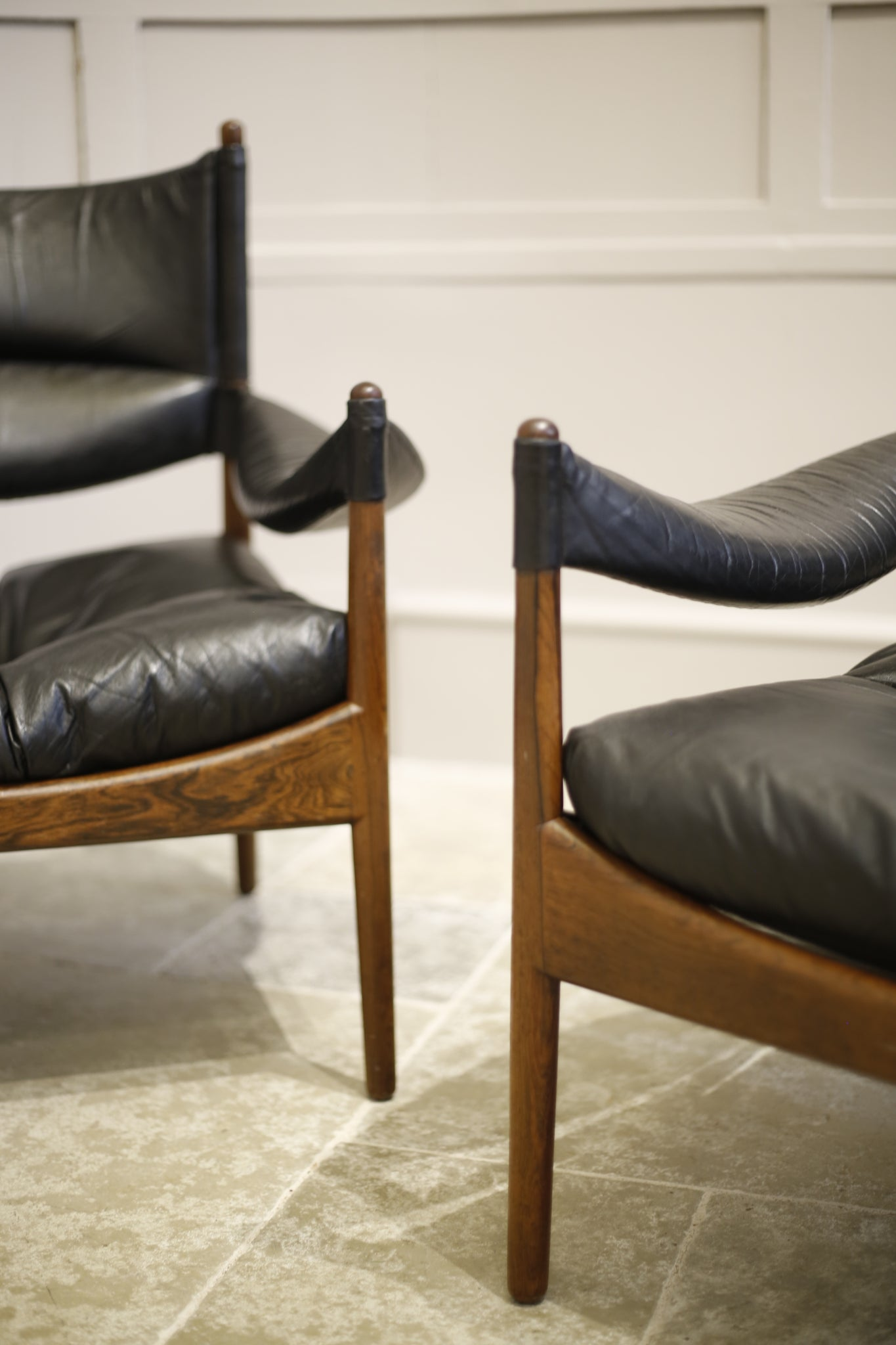 Pair of Rosewood and leather Danish armchairs by Kristian Vedel