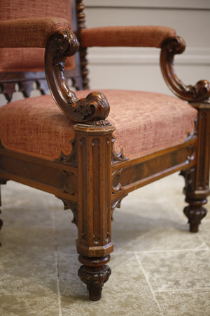 19th century Puginesque Gothic throne chair