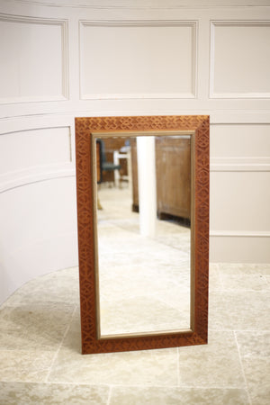 Mid century Swedish carved teak framed mirror