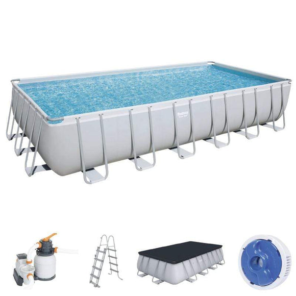 Bestway Ground Pool Bestway Power Steel Rectangular Pool Set 7.32m x 3.66m x 1.32m (24′ x 12′ x 52″)