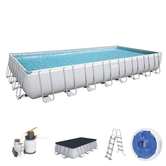Bestway Ground Pool Bestway Power Steel Rectangular Pool Set (9.56m x 4.88m x 1.32m) (31'4″ x 16′ x 52″)