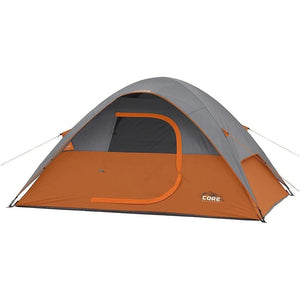 Core Equipment Outdoor CORE EQUIPMENT 4 Person Dome Tent - Grey/Orange | 4 Person Capacity | Durable 68D Polyester