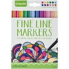 Crayola School 12 ct. Assorted, Fine Line, Black Barrels