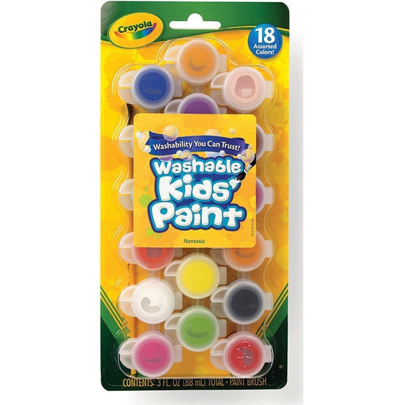 Crayola School 18 ct. Washable Paint Pots with Brush, Classic & Bold Colors