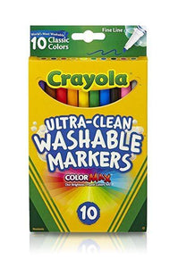 Crayola School 8 ct. Ultra-Clean Washable Classic, Fine Line, Color Max Markers