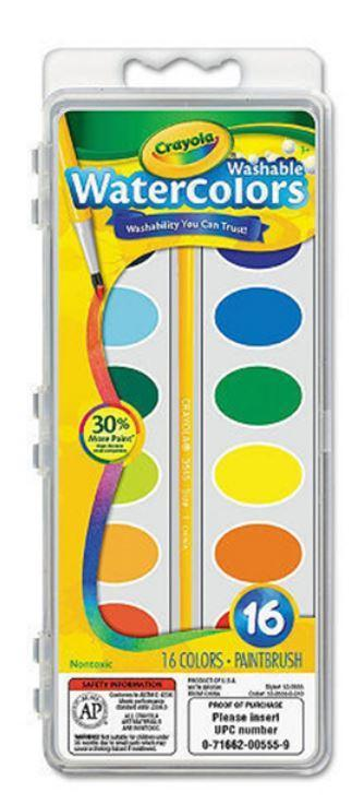 Crayola School Crayola 16 Washable Watercolors With Plastic Brush