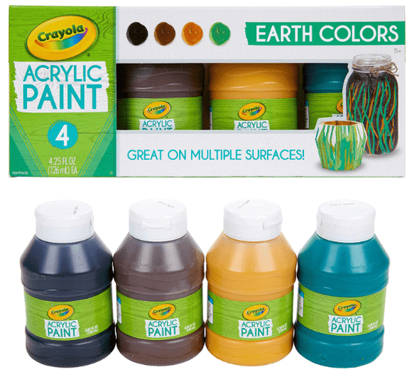 Crayola school Crayola - 4 ct. 4 oz. Multi-Surface Acrylic Earth Colors
