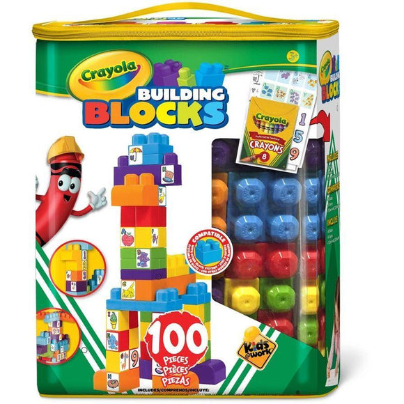 Crayola Toy Kids@Work Building Blocks with Tote (100 Pieces, Green)
