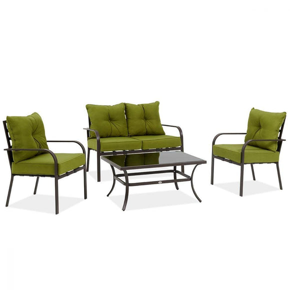 Danube Home Outdoor Laura Steel 2+1+1 Sofa - Green