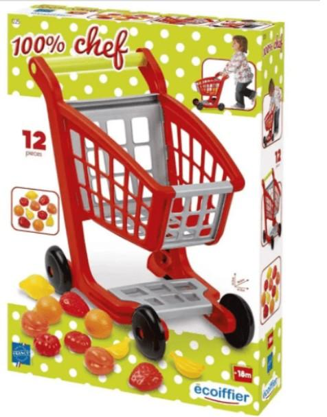 Ecoiffier Toys Ecoiffier - 100% chef garnished supermarket trolley 13pcs