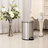 EKO Home & Kitchen EKO Artistic Stainless Steel Round Step Waste Bin with Soft Close Lid, 5-Liter (Black/Silver)