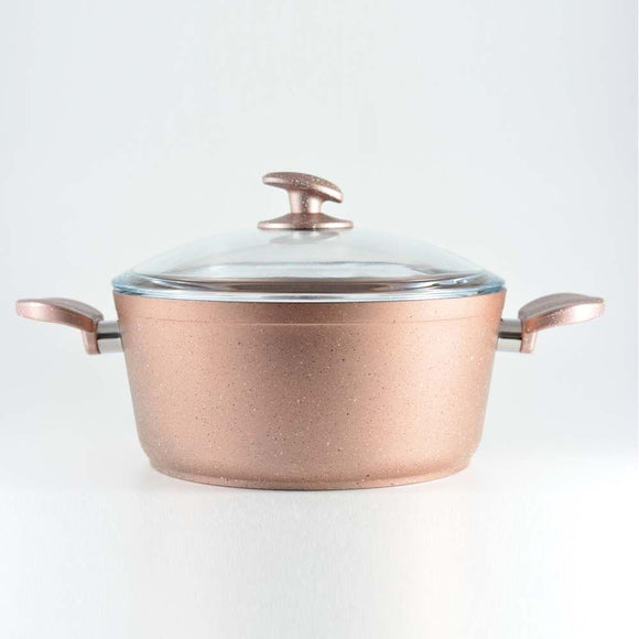 Homemaker Home & Kitchen Granitec Rose Gold Casserole 24 cm - (G-RGC-24)