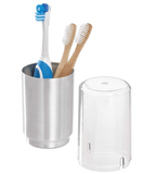 InterDesign Home & Kitchen InterDesign Austin Case, Metal and Plastic Stand with Cover, Regular and Electric Toothbrush Holder, Clear Frost