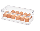 InterDesign Home & Kitchen InterDesign Crisp Stackable Refrigerator and Pantry Egg Storage Bin, BPA Free Plastic, Clear and White