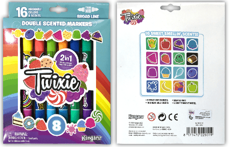 Kangaru Back to School TWIXIE™  SCENTED     8ct Double Ended Broadline Markers – 16 Colors