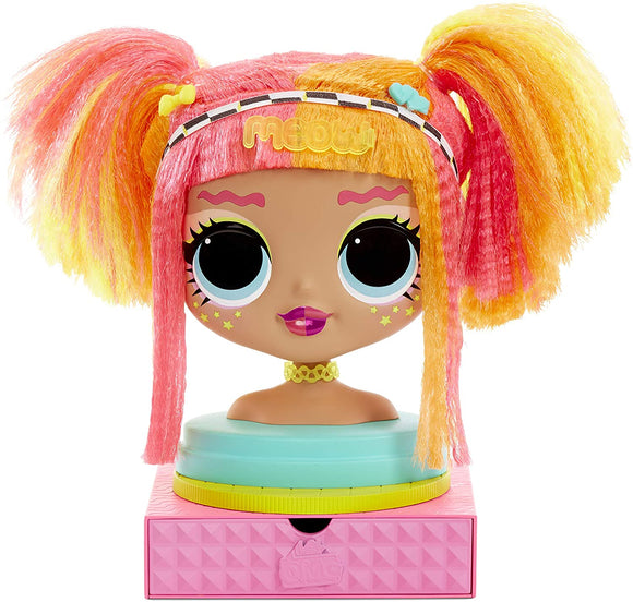 L.O.L Toys L.O.L. Surprise, O.M.G. Styling Head Neonlicious LLUB1 - Hair Styling Head with 30 Surprises, Hair Extensions, Accessories, Convenient Storage, Water Surprise Function, Toy for Children from 3 Years