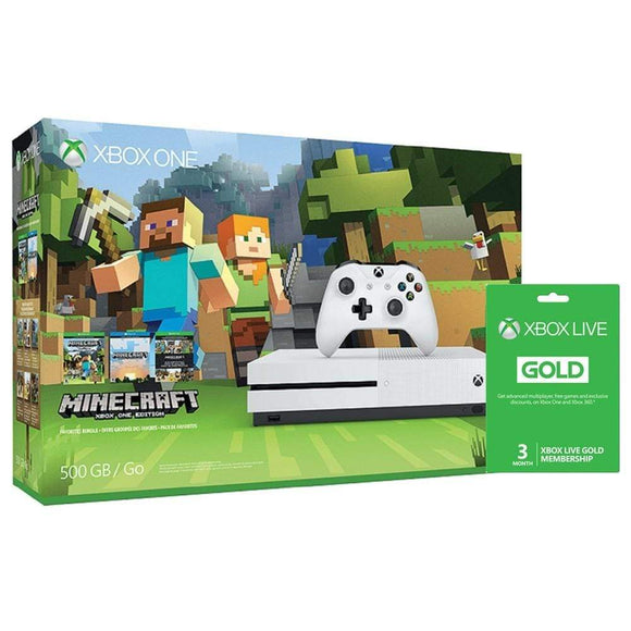 Microsoft Gaming Console Xbox One S 500GB Console with Minecraft and 3-Months Gold Membership