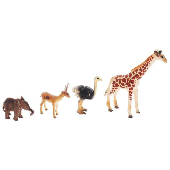 National Geographic toys Nat Geo Animal Play Set with Giraffe, Ostrich, Gazelle & Baby Elephant