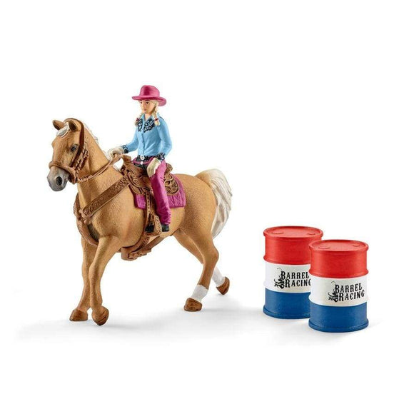 Schleich toys Schleich Barrel Racing with Cowgirl Set