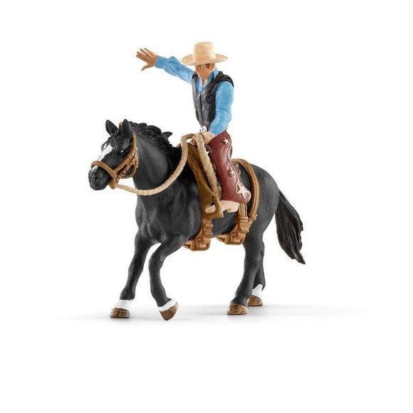 Schleich toys Schleich Saddle Bronc Riding with Cowboy Set